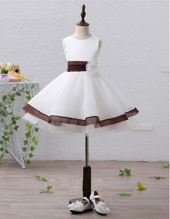 Inexpensive Pretty A-Line Short Satin Flower Girl Dresses with Belts