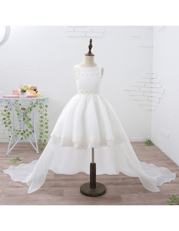 Adorable Stunning Ball Gown Short Flower Girl Dresses with Detachable Train