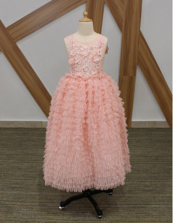 2018 Beautiful Tea Length Ruffle Skirt Pink Flower Girl Dresses