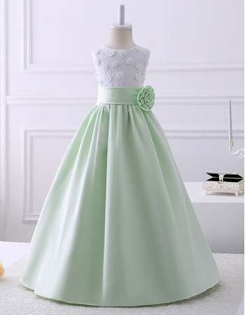 Discount Pretty A-Line Sleeveless Floor Length Satin Lace Flower Girl Dresses
