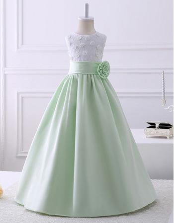 Discount Pretty A-Line Sleeveless Floor Length Satin Lace Flower Girl Dresses