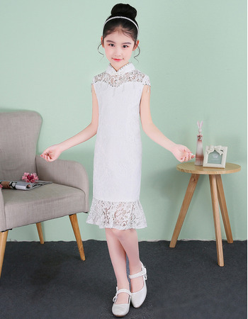 New Classy Pretty Column Mandarin Collar Short Lace Flower Girl Dresses