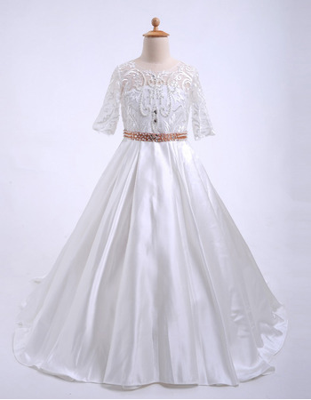 2018 New Style Sweep Train Flower Girl Dresses with Half Sleeves
