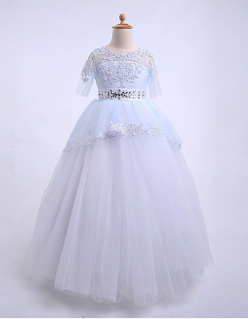 Custom Stunning Ball Gown Floor Length Flower Girl Dresses with Half Sleeves