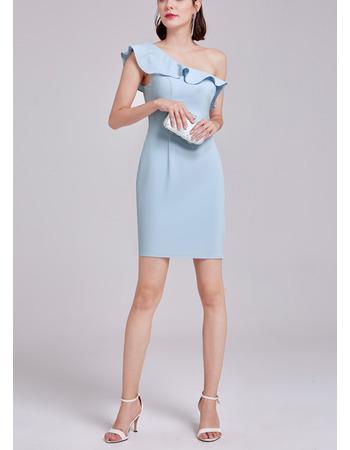 Designer One Shoulder Mini/ Short Satin Tight Formal Cocktail Dress