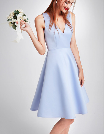 Modern V-Neck Sleeveless Mini/ Short Satin Cocktail Party Dress