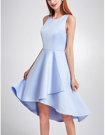 2018 Spring Asymmetric High-Low Satin Evening Cocktail Dress