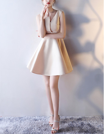 Modern A-Line Asymmetric Mini/ Short Satin Formal Cocktail Dress