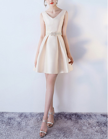 Inexpensive V-Neck Mini/ Short Satin Beading Formal Cocktail Dress