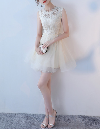 Classy A-Line Sleeveless Mini/ Short Organza Lace Formal Cocktail Dress