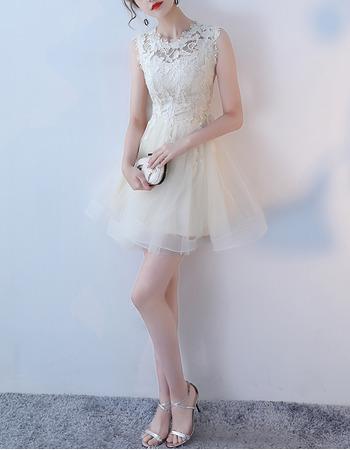 Classy A-Line Sleeveless Mini/ Short Organza Lace Formal Cocktail Dress