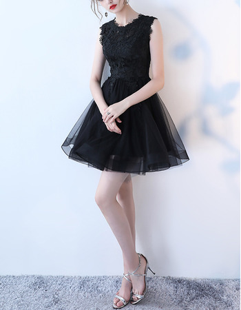 2018 Simple Sleeveless Mini/ Short Organza Lace Little Black Cocktail Party Dress