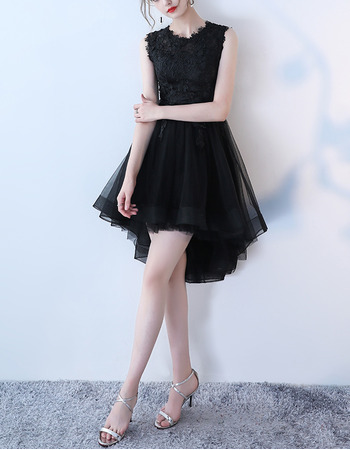Beautiful Sleeveless High-Low Tulle Little Black Formal Cocktail Dress