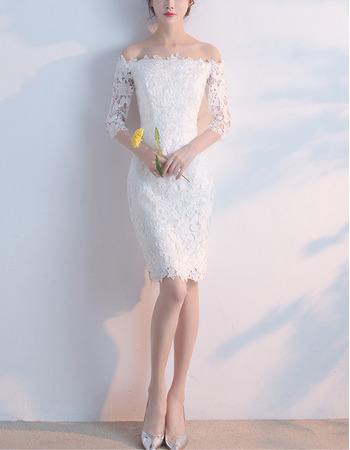 Elegant Off-the-shoulder Lace Tight Formal Cocktail Party Dress with Half Sleeves