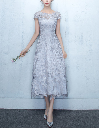 Inexpensive Tea Length Lace Midi Formal Cocktail Dress with Short Sleeves