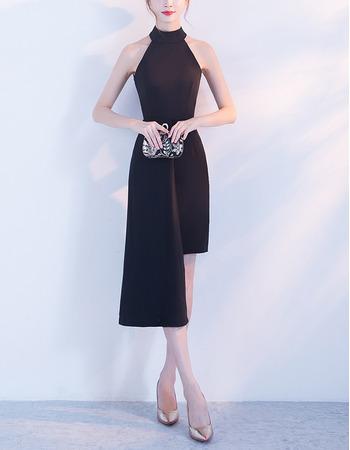 Affordable Halter Mini/ Short Satin Black Semi Formal Cocktail Dress