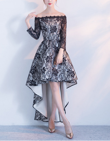 2018 Off-the-shoulder High-Low Lace Formal Cocktail Dress with Long Sleeves