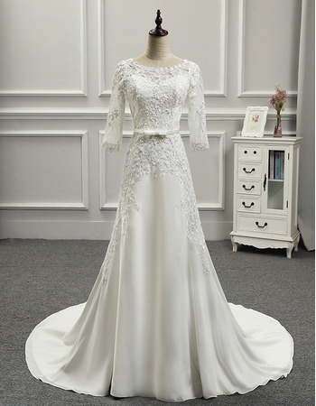 Affordable Retro Court Train Chiffon Wedding Dress with 3/4 Long Sleeves