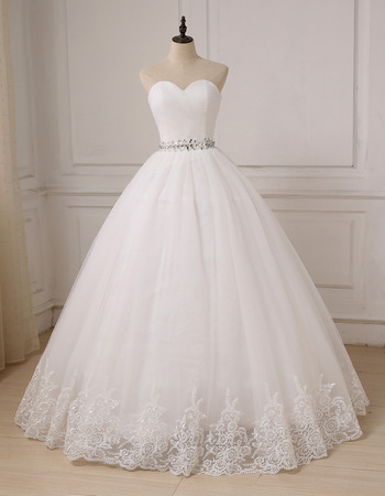 Inexpensive Classic Ball Gown Sweetheart Floor Length Organza Wedding Dress