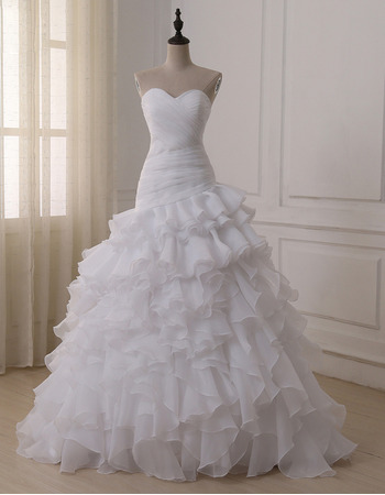 Affordable Luxury Sweetheart Floor Length Organza Layered Skirt Wedding Dress