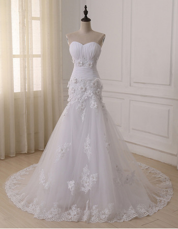 2018 New Beautiful Trumpet Sweetheart Floor Length Applique Wedding Dress