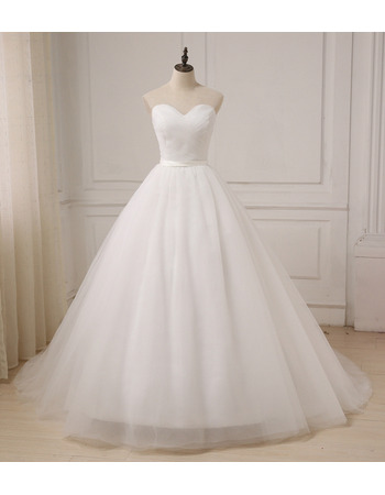 Cheap Custom Classic A-Line Sweetheart Floor Length Organza Wedding Dress
