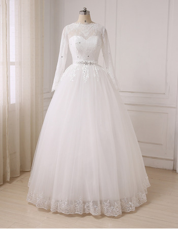 Inexpensive Classic Ball Gown Floor Length Wedding Dress with Long Sleeves