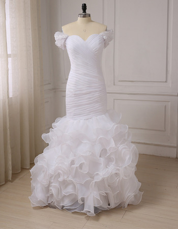 Amazing Luxury Trumpet Sweetheart Cap Sleeves Floor Length Wedding Dress