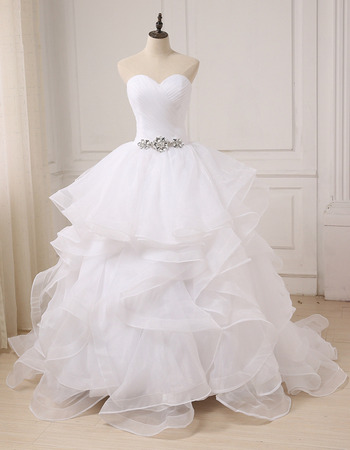 2018 Style Luxury Sweetheart Long Organza Layered Skirt Wedding Dress
