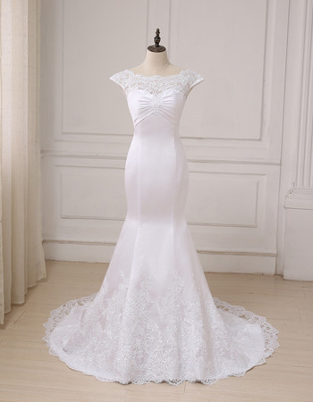 Custom Cheap Classy Trumpet Cap Sleeves Floor Length Satin Wedding Dress
