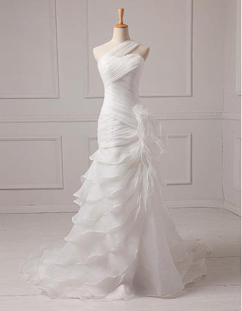 Inexpensive Custom Stunning A-Line One Shoulder Floor Length Chiffon Wedding Dress