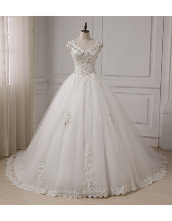 Cheap Classic A-Line V-Neck Sleeveless Chapel Train Organza Wedding Dress
