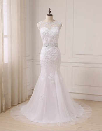 2018 Stylish Classy Mermaid Floor Length Beading Wedding Dress with Bow