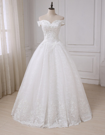 Custom Classic Sweetheart Off-the-shoulder Floor Length Lace Wedding Dress