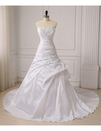 Cheap Custom Designer A-Line Sweetheart Chapel Train Taffeta Wedding Dress