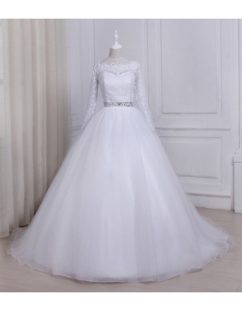 Elegant Modern Ball Gown Floor Length Wedding Dress with Long Lace Sleeves