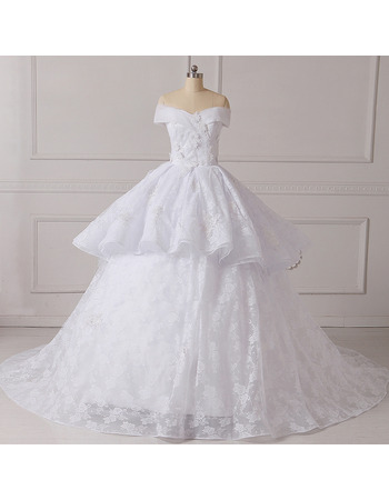 2018 New Amazing Ball Gown Off-the-shoulder Chapel Train Lace Wedding Dress