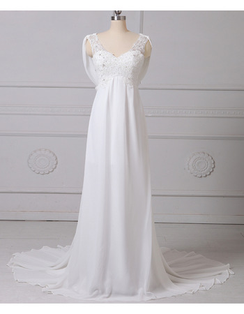 Cheap Custom Chic Empire V-Neck Sleeveless Floor Length Chiffon Wedding Dress