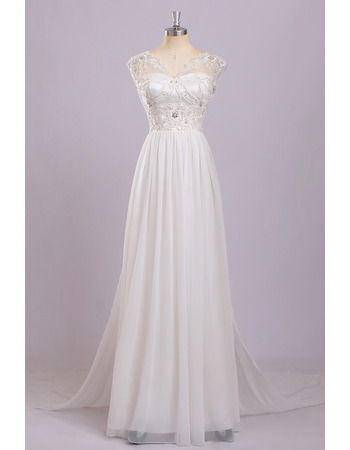 Inexpensive Simple Classic V-Neck Sleeveless Floor Length Chiffon Wedding Dress