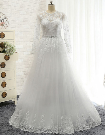 Vintage A-Line Floor Length Tulle Plus Size Wedding Dress with Long Sleeves