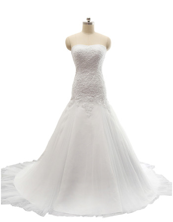 2018 New Style A-Line Sweetheart Court Train Satin Plus Size Wedding Dress