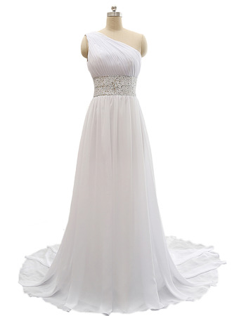 Custom One Shoulder Sweep Train Chiffon Lace-Up Plus Size Wedding Dress