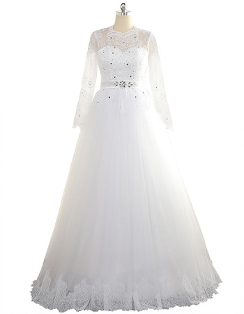 Custom A-Line Floor Length Tulle Plus Size Wedding Dress with Long Sleeves