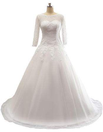2018 A-Line Floor Length Plus Size Wedding Dress with 3/4 Long Sleeves