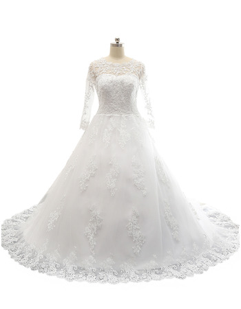 Classic A-Line Court Train Satin Tulle Plus Size Wedding Dress with Long Sleeves