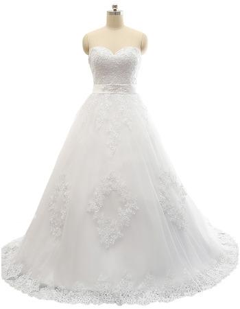 Modern A-Line Sweetheart Sweep Train Satin Tulle Plus Size Wedding Dress