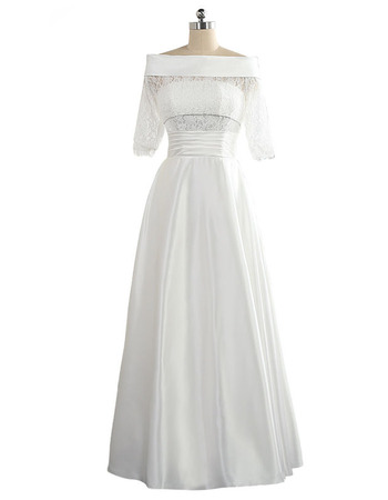 Chic Off-the-shoulder Taffeta Wedding Dress with Half Sleeves
