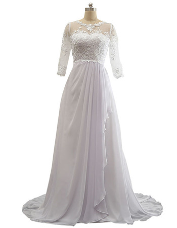 Custom Sweep Train Chiffon Plus Size Wedding Dress with 3/4 Long Sleeves