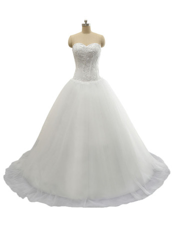Classic A-Line Sweetheart Court Train Lace-Up Wedding Dress