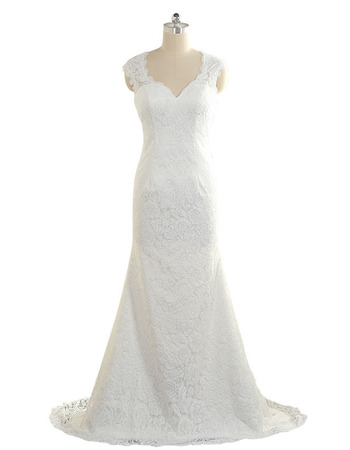 Modest Sheath Sweetheart Sleeveless Floor Length Plus Size Lace Wedding Dress